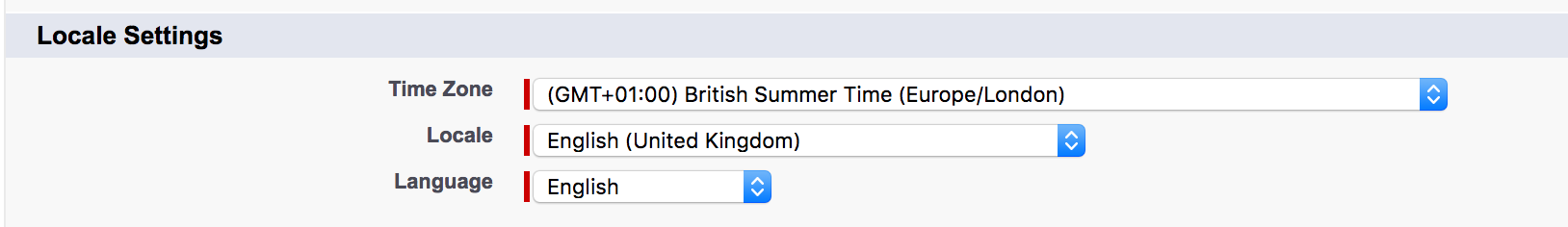 Screenshot of Time Zone section in Salesforce