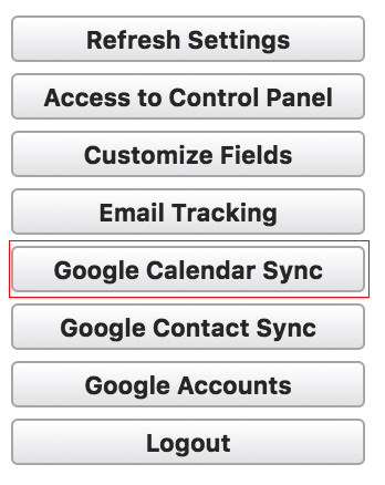 Google Calendar Sync button highlighted in Ebsta to access Salesforce & Google Calendar Sync set up