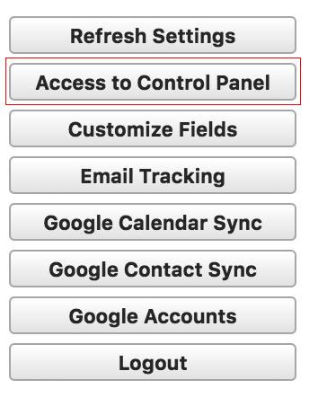 Access to control panel button highlighted in Ebsta to access Salesforce & Google Calendar Sync set up