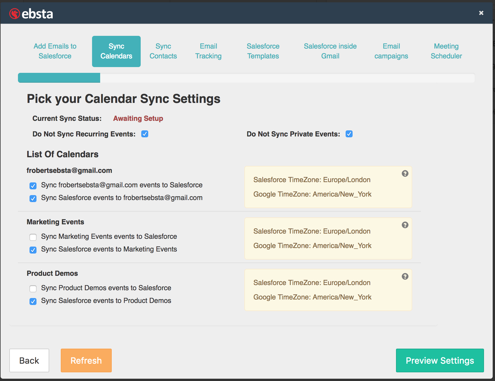 Ebsta's Calendar Set up screenshot showing multiple Salesforce calendars set to sync to Google