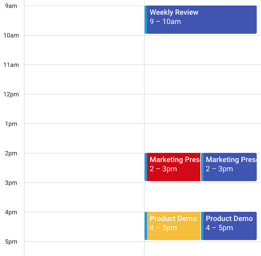 Screenshot of Google Calendar showing Events that have been synced to Salesforce and back to Google using Ebsta's Salesforce Gmail integration