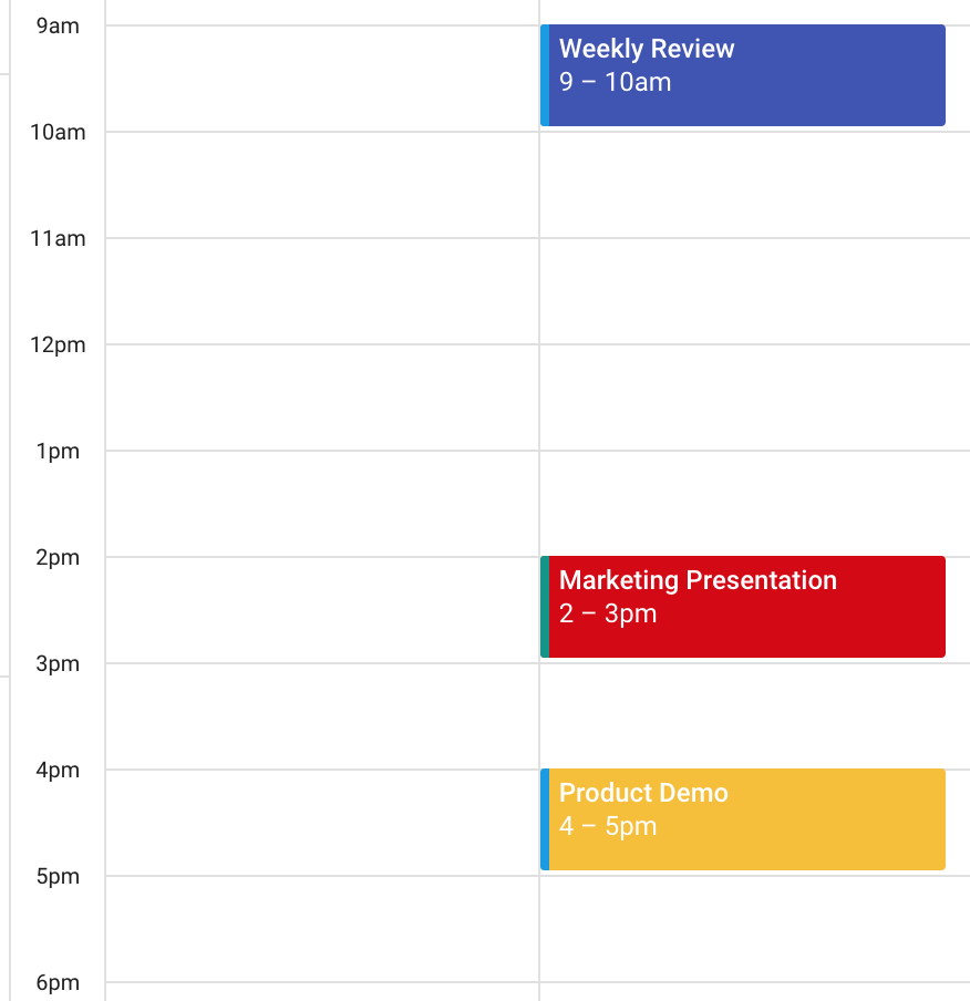 Google Calendar Events that will be synced to Salesforce using Ebsta's Salesforce Gmail integration