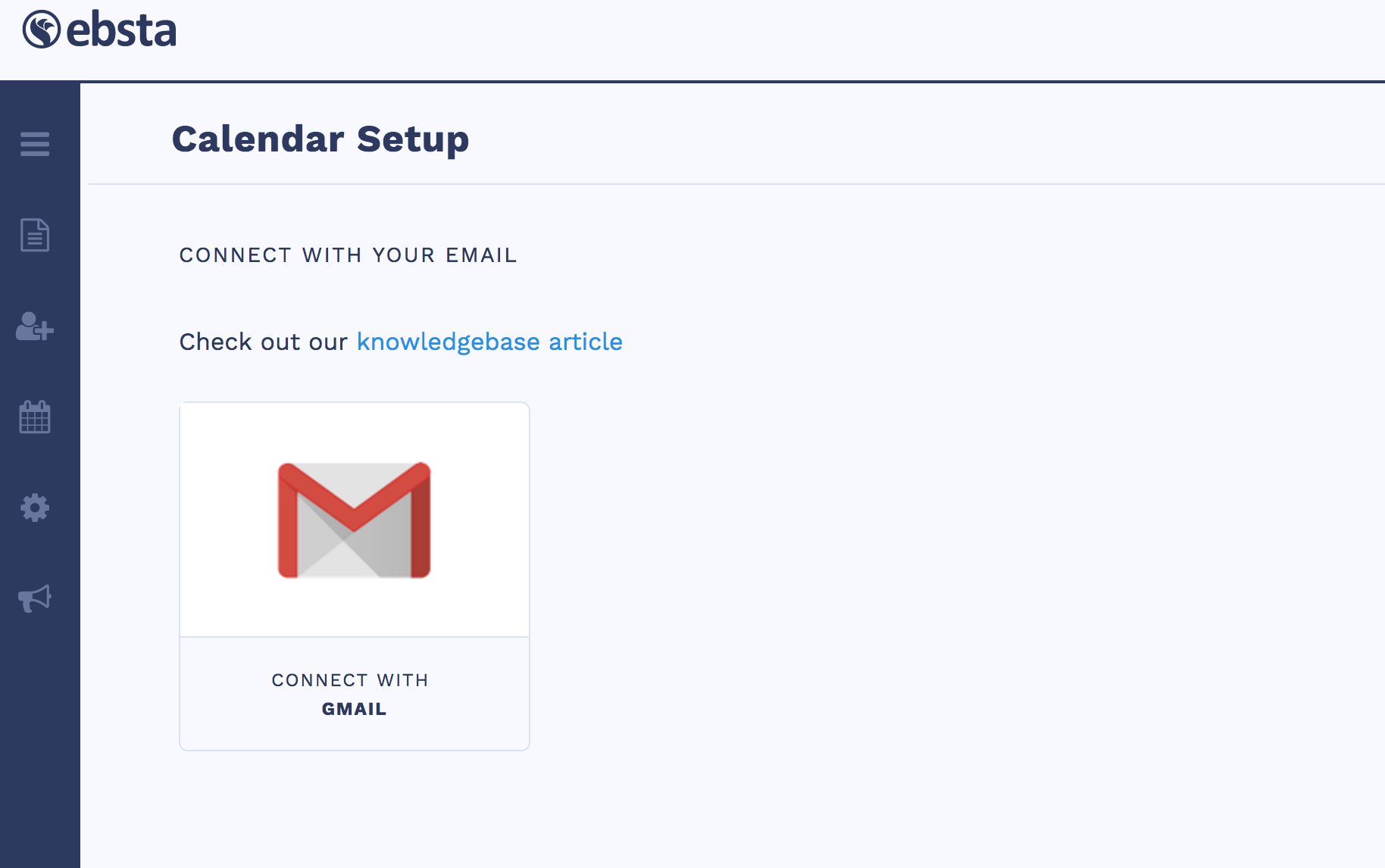 this will open up the calendar setup section of ebstas control panel click connect with gmail