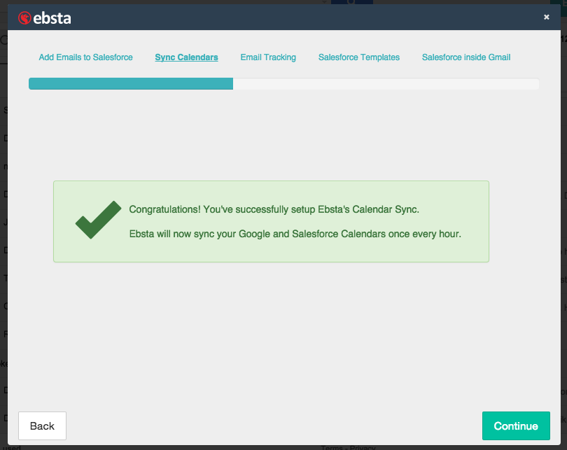 Successful Salesforce & Google Calendar sync confirmation screen