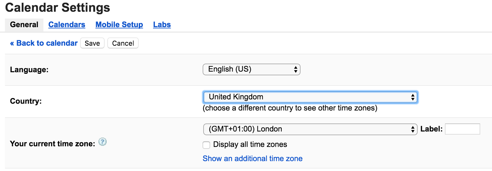 Screenshot of menu of different time zones in Google